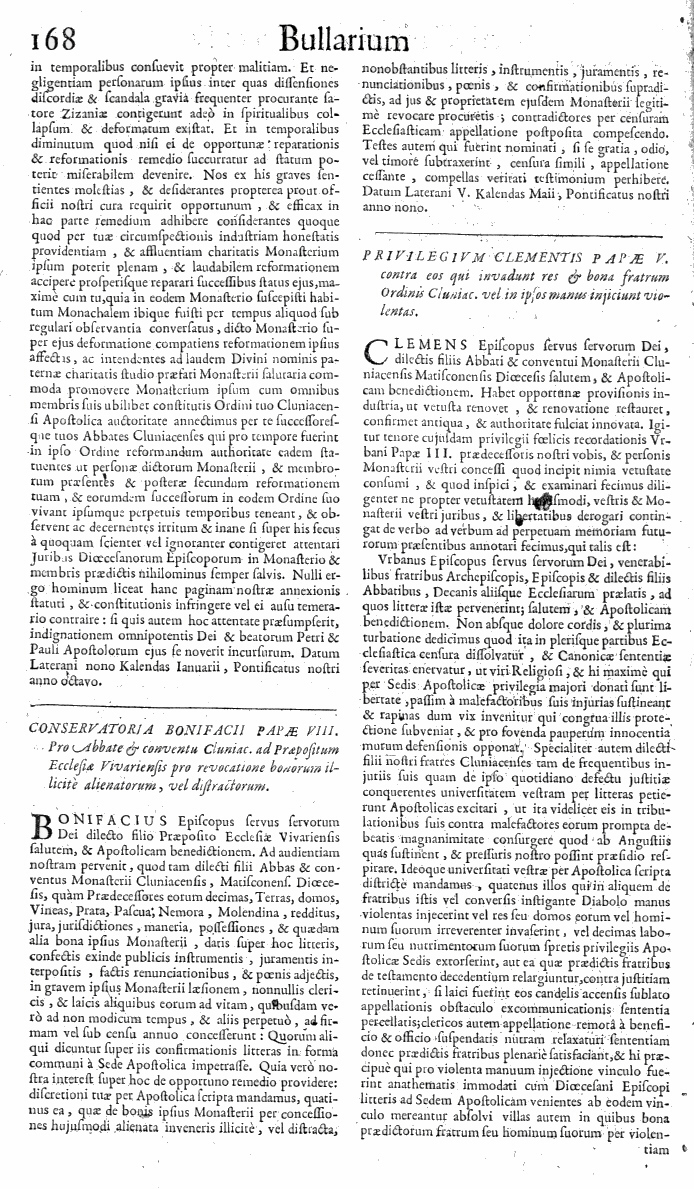 Bullarium Cluniacense p. 168     ⇒ Index privilegiorum