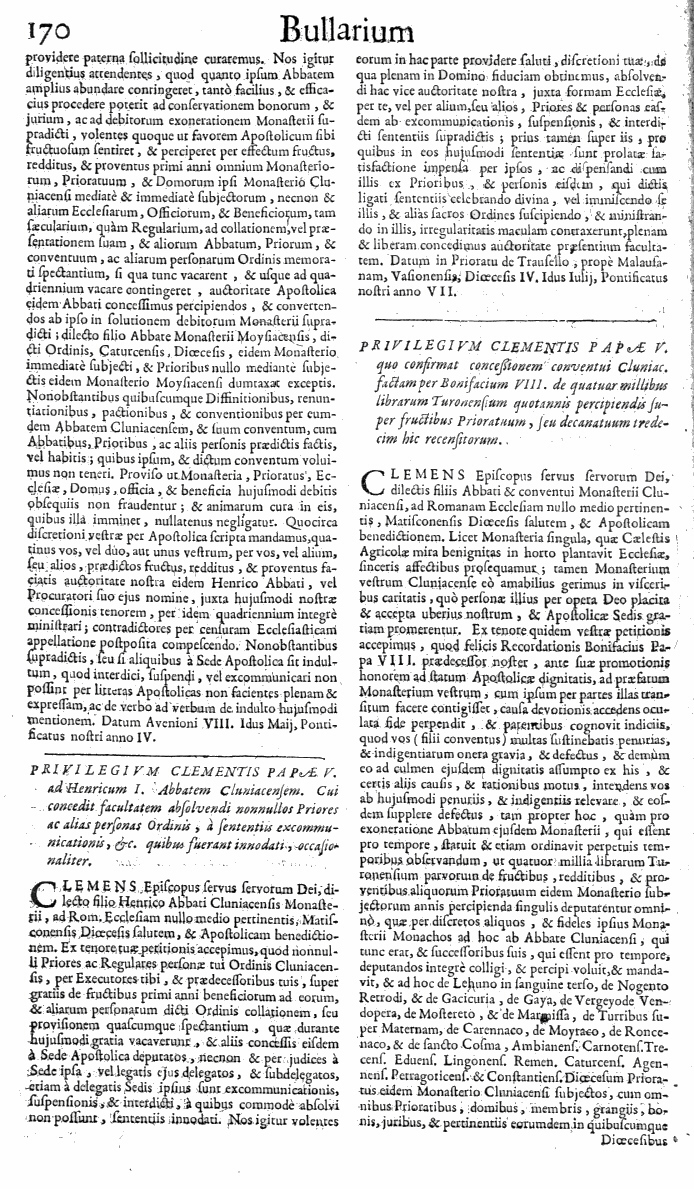 Bullarium Cluniacense p. 170     ⇒ Index privilegiorum