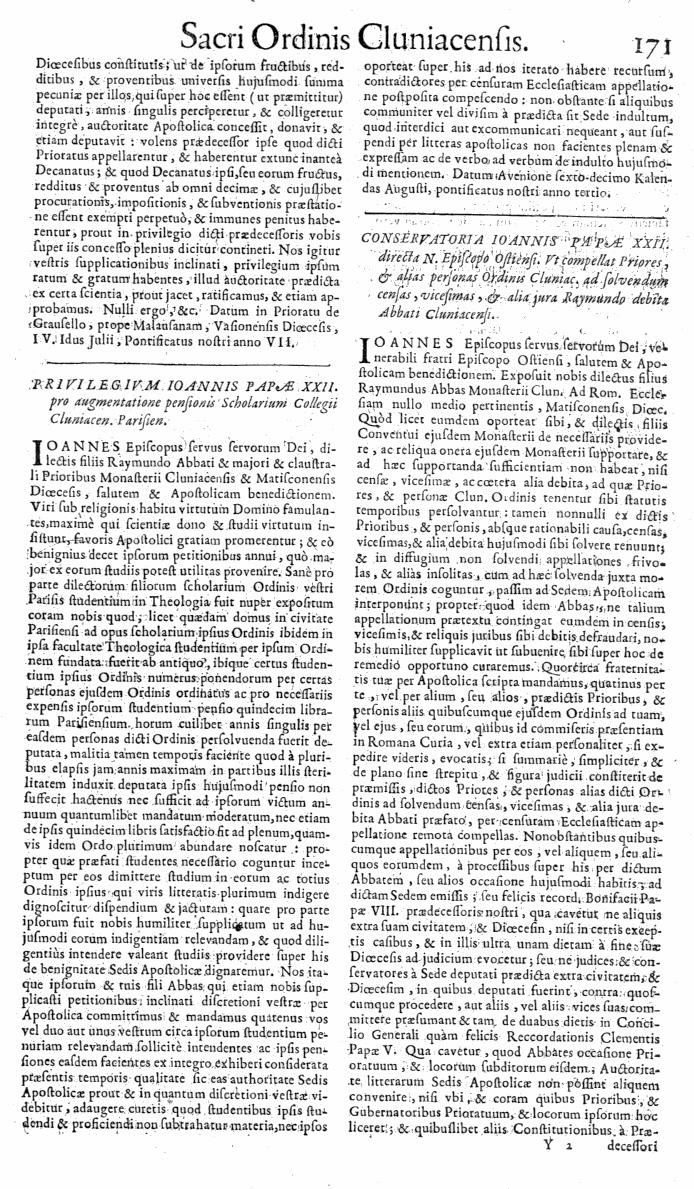 Bullarium Cluniacense p. 171   ⇒ Index privilegiorum
