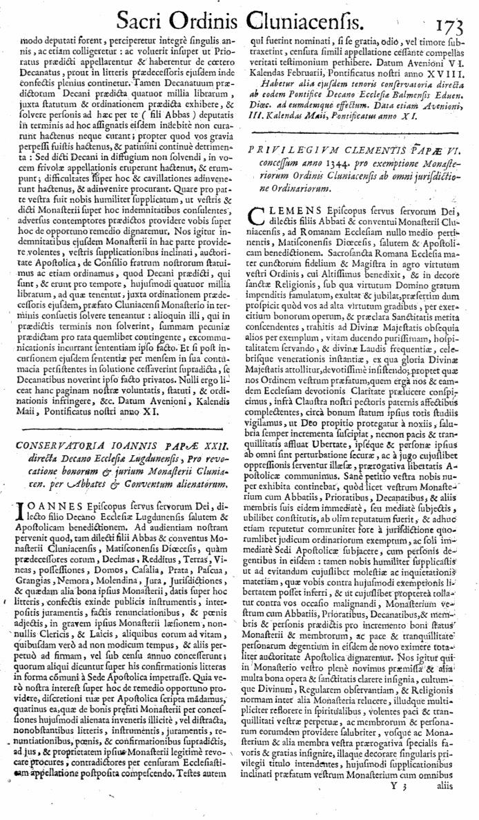 Bullarium Cluniacense p. 173   ⇒ Index privilegiorum
