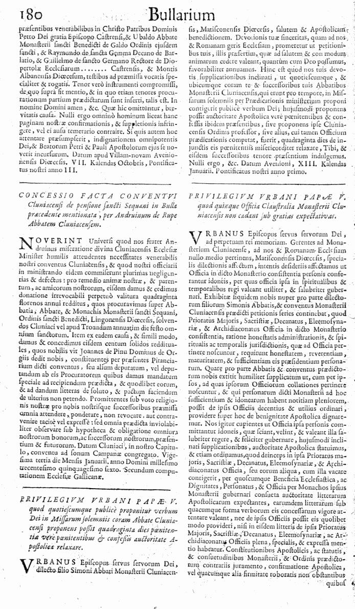 Bullarium Cluniacense p. 180   ⇒ Index privilegiorum