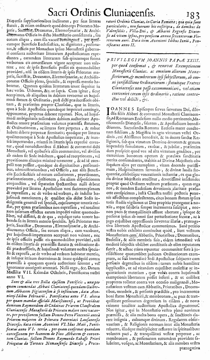 Bullarium Cluniacense p. 183     ⇒ Index privilegiorum