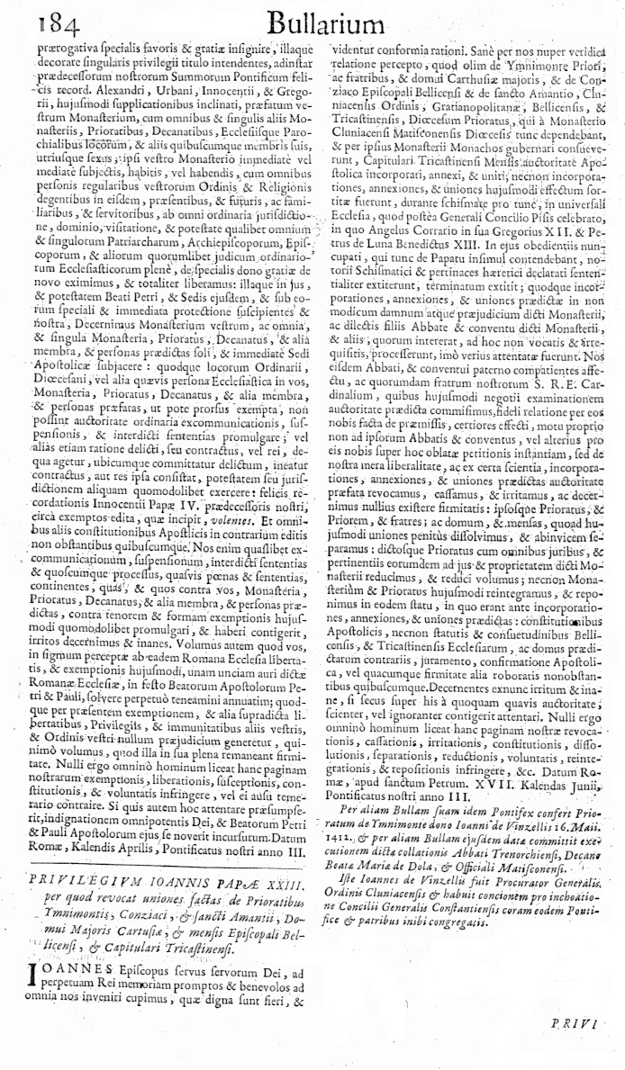 Bullarium Cluniacense p. 184     ⇒ Index privilegiorum