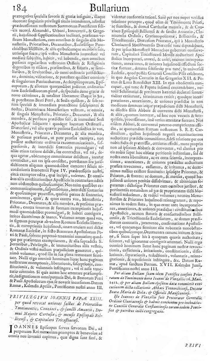 Bullarium Cluniacense p. 184   ⇒ Index privilegiorum