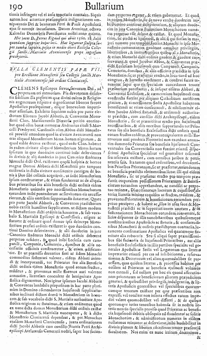 Bullarium Cluniacense p. 190     ⇒ Index privilegiorum
