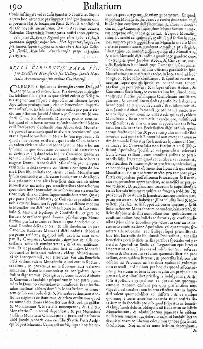 Bullarium Cluniacense p. 190   ⇒ Index privilegiorum