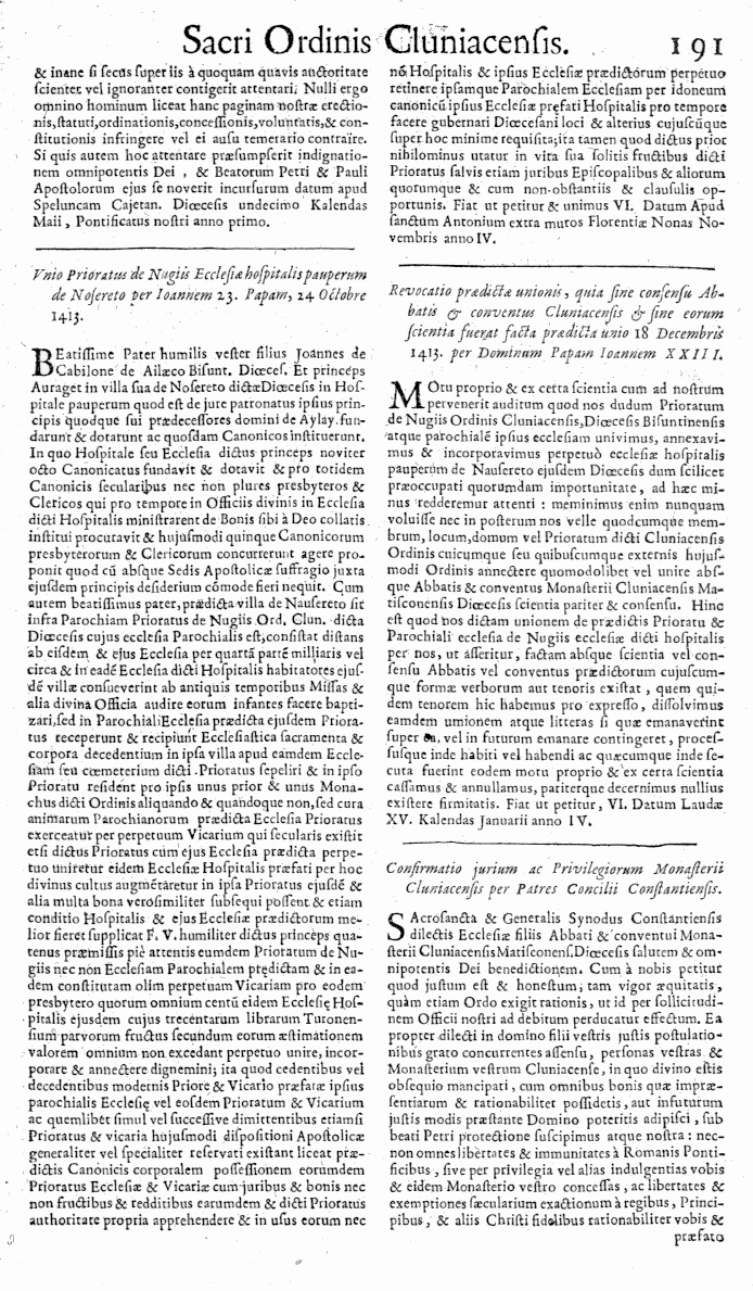Bullarium Cluniacense p. 191     ⇒ Index privilegiorum