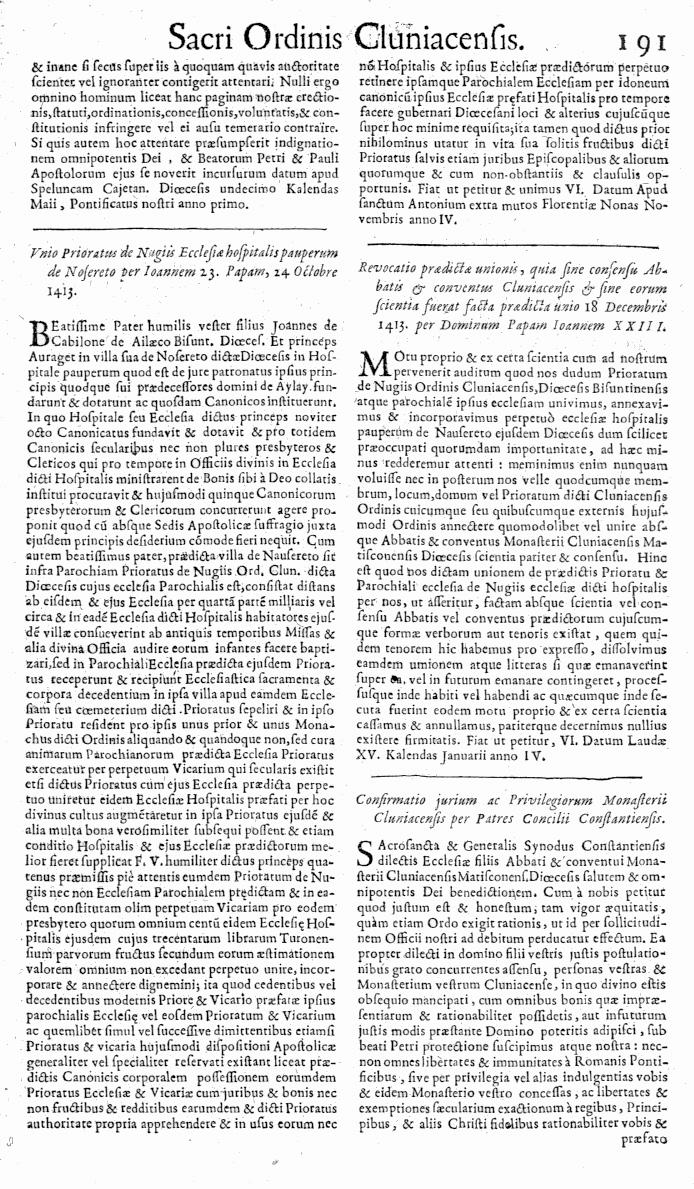 Bullarium Cluniacense p. 191   ⇒ Index privilegiorum