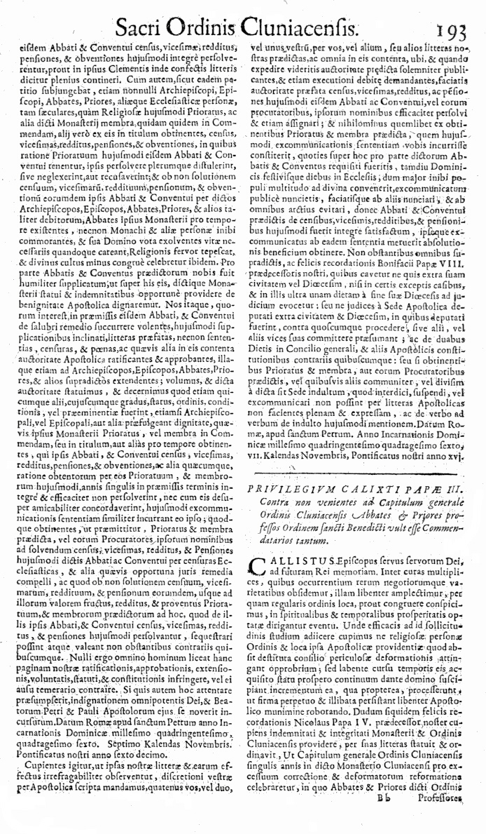 Bullarium Cluniacense p. 193     ⇒ Index privilegiorum