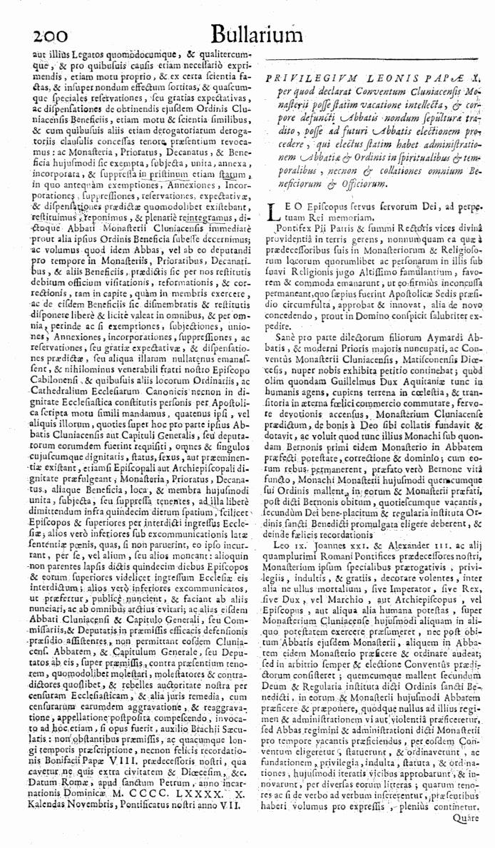 Bullarium Cluniacense p. 200   ⇒ Index privilegiorum