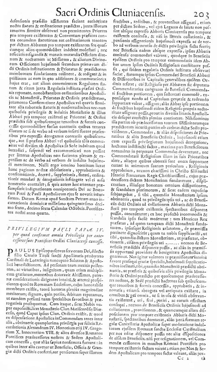 Bullarium Cluniacense p. 203   ⇒ Index privilegiorum