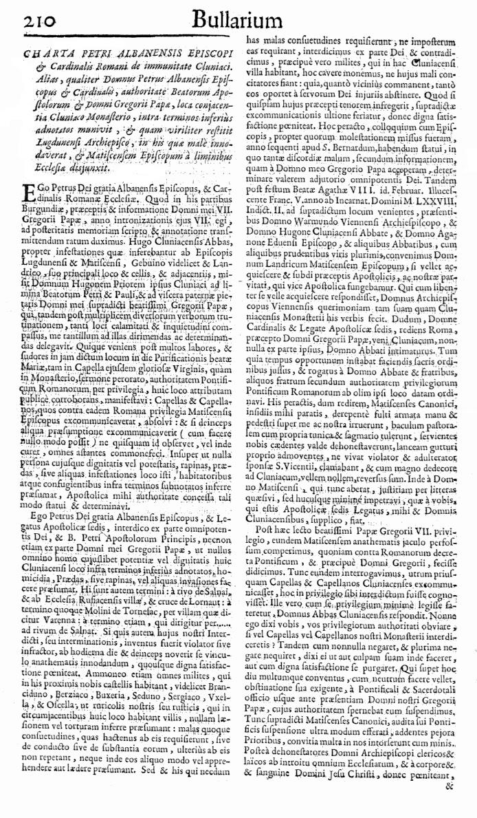 Bullarium Cluniacense p. 210   ⇒ Index privilegiorum