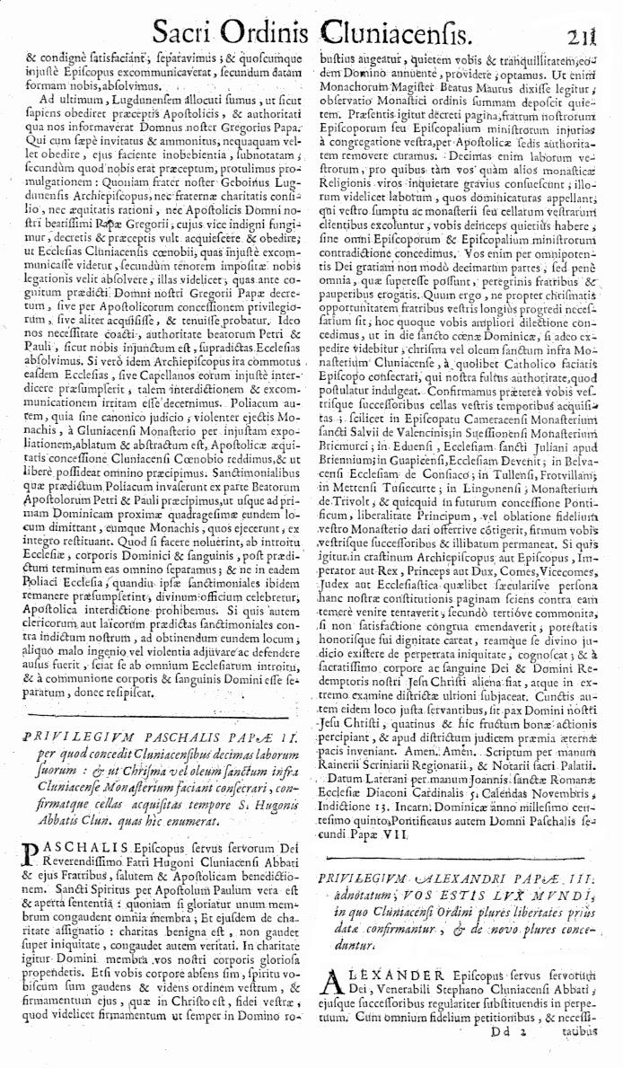 Bullarium Cluniacense p. 211   ⇒ Index privilegiorum