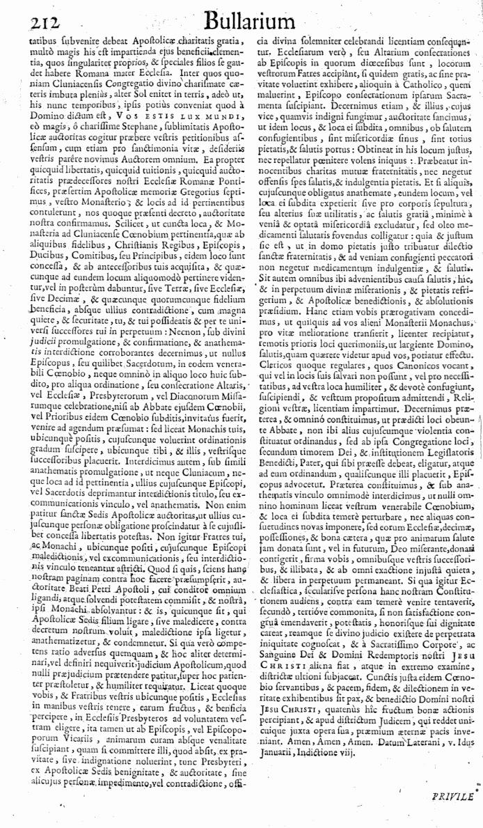 Bullarium Cluniacense p. 212   ⇒ Index privilegiorum
