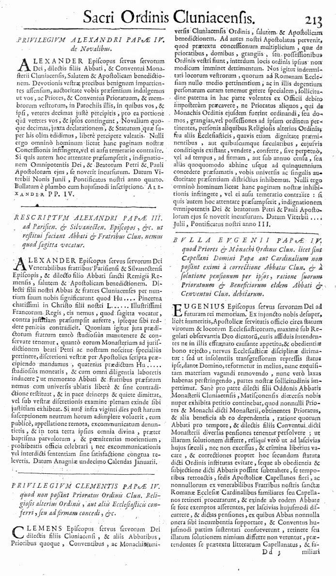 Bullarium Cluniacense p. 213   ⇒ Index privilegiorum