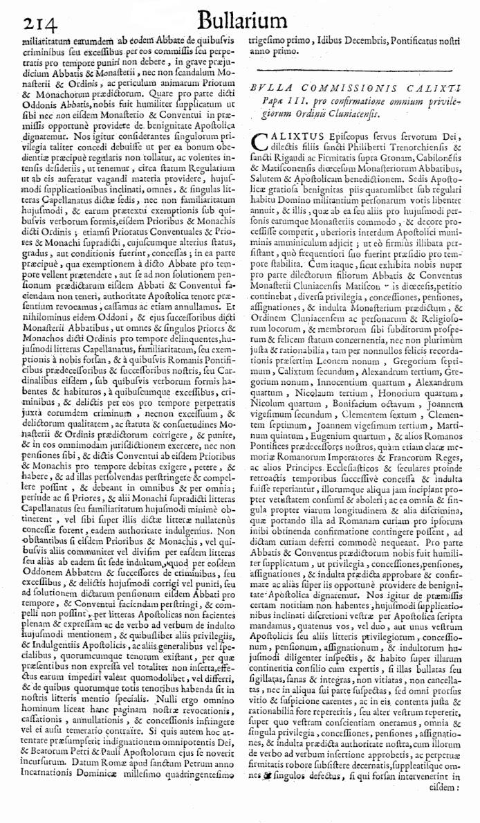 Bullarium Cluniacense p. 214   ⇒ Index privilegiorum