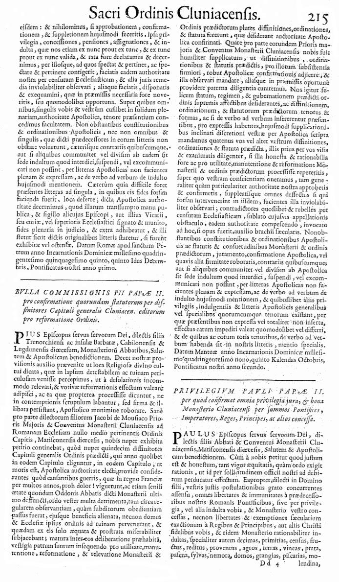Bullarium Cluniacense p. 215   ⇒ Index privilegiorum
