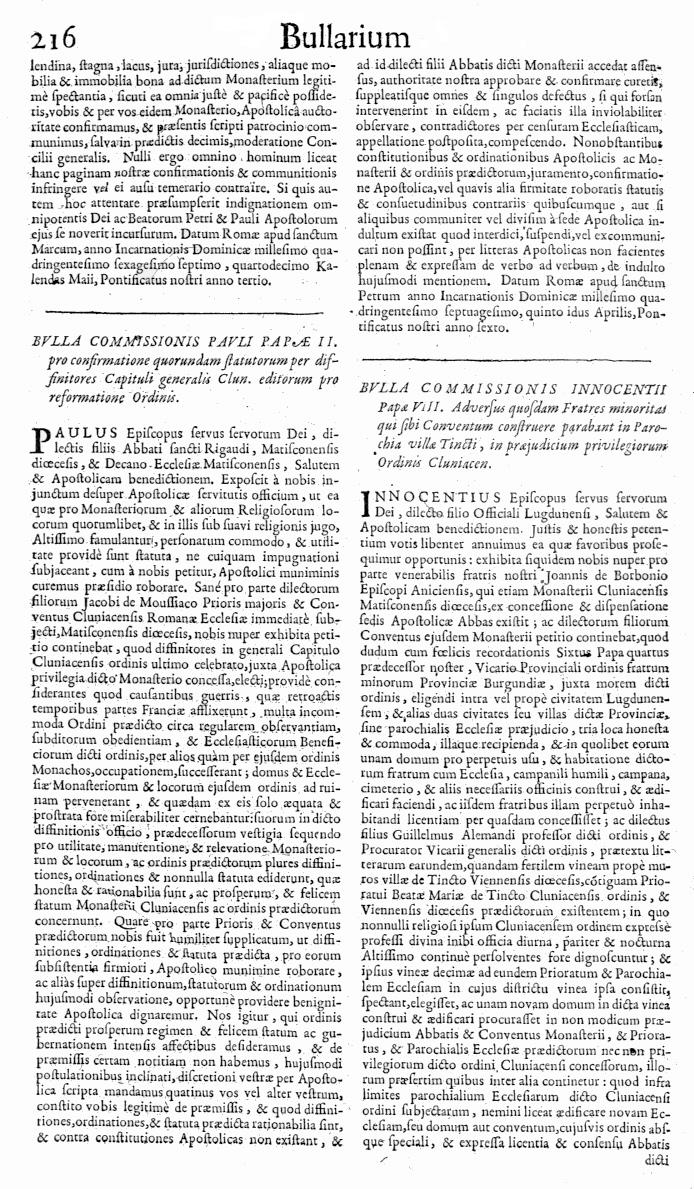 Bullarium Cluniacense p. 216   ⇒ Index privilegiorum