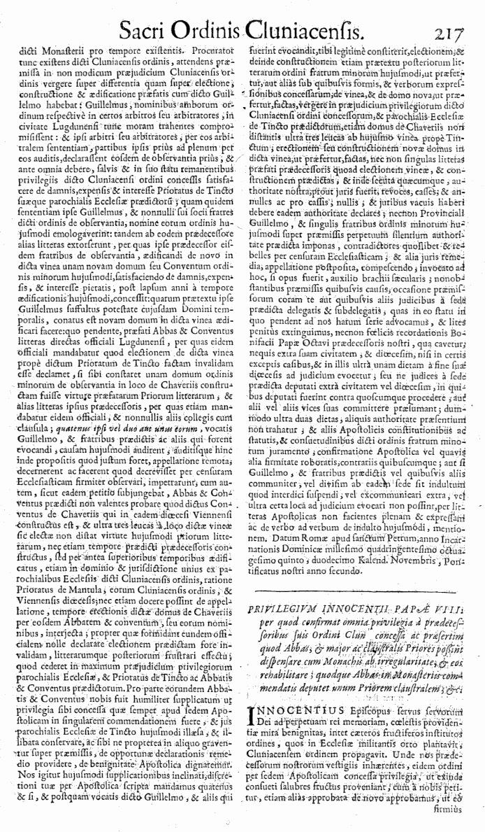 Bullarium Cluniacense p. 217   ⇒ Index privilegiorum