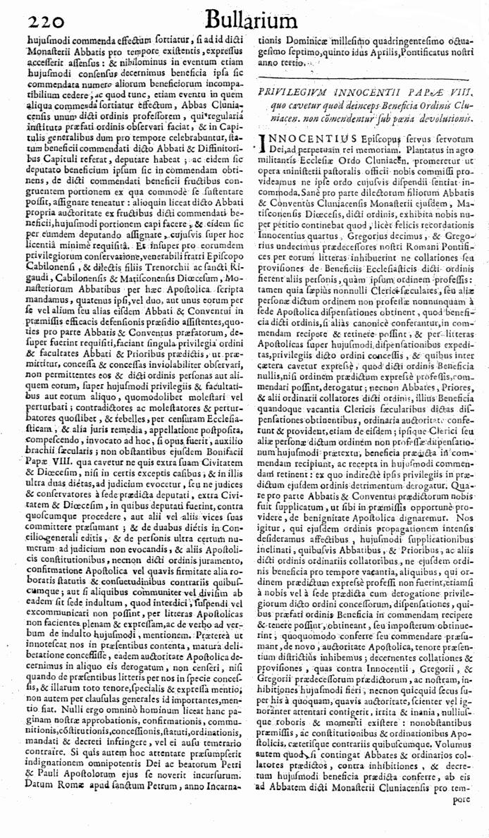 Bullarium Cluniacense p. 220   ⇒ Index privilegiorum