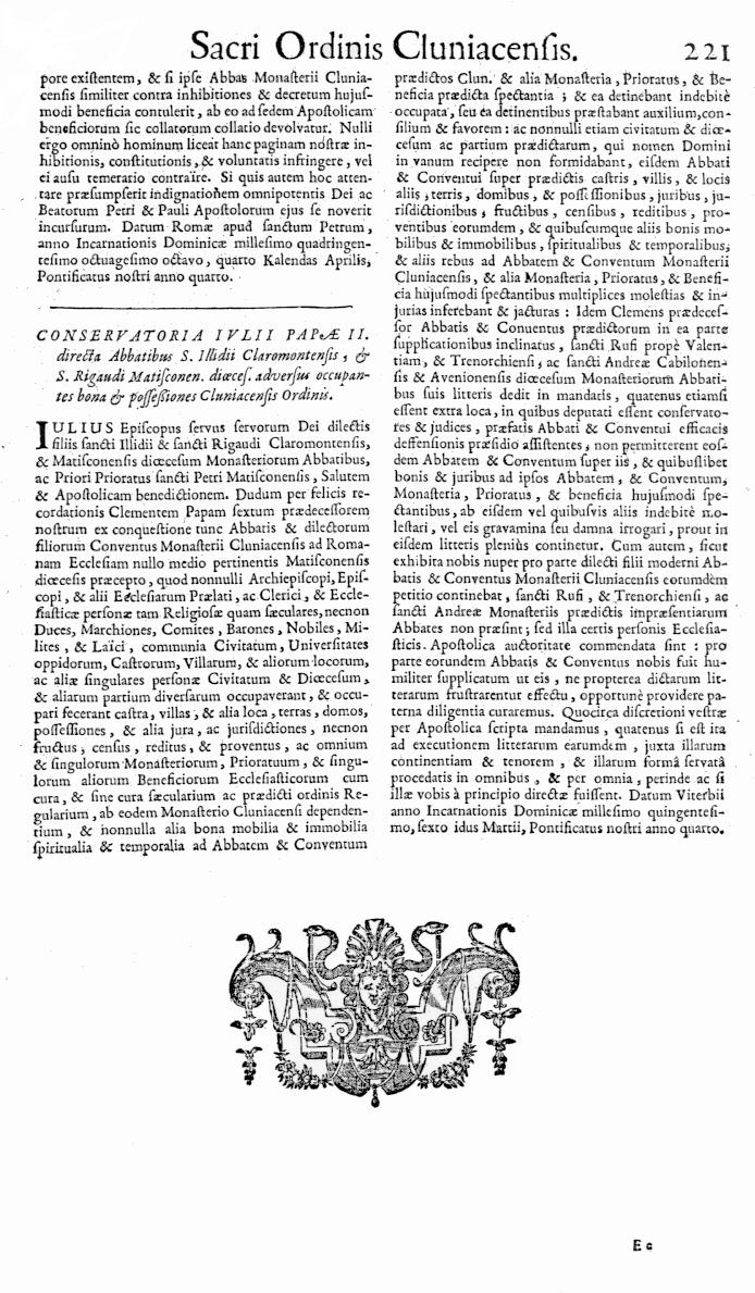 Bullarium Cluniacense p. 221   ⇒ Index privilegiorum