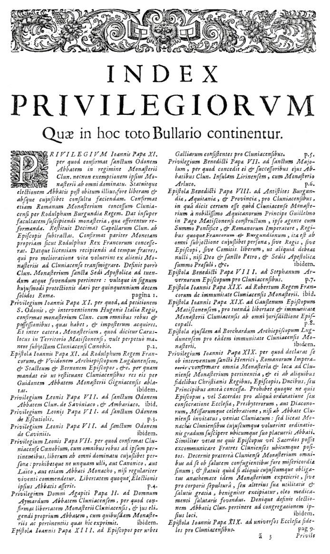 Bullarium Cluniacense p. A03   ⇒ Index privilegiorum