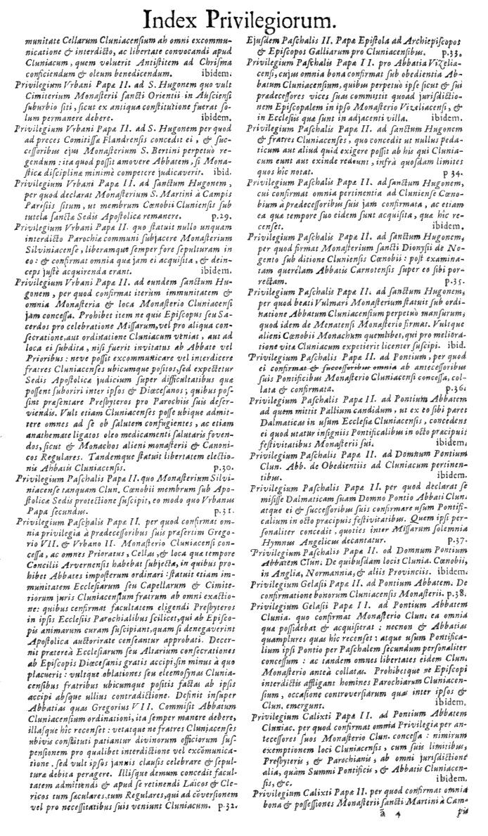 Bullarium Cluniacense p. A05   ⇒ Index privilegiorum