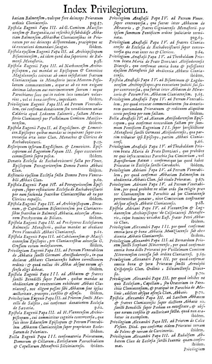 Bullarium Cluniacense p. A07   ⇒ Index privilegiorum