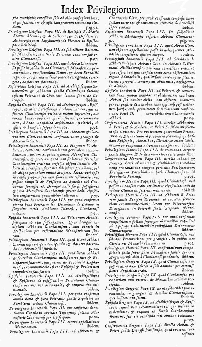 Bullarium Cluniacense p. A09   ⇒ Index privilegiorum