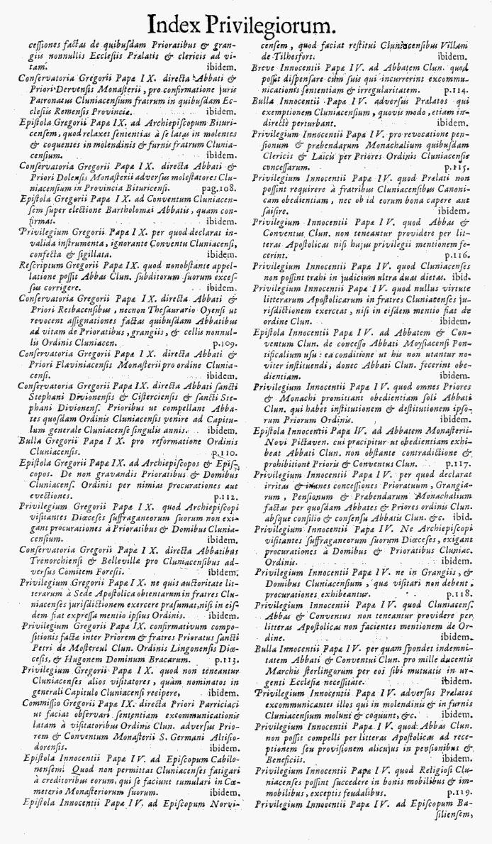Bullarium Cluniacense p. A10   ⇒ Index privilegiorum