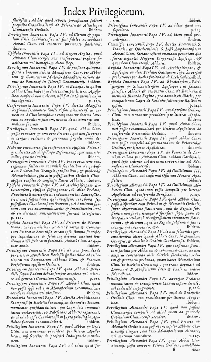 Bullarium Cluniacense p. A11   ⇒ Index privilegiorum