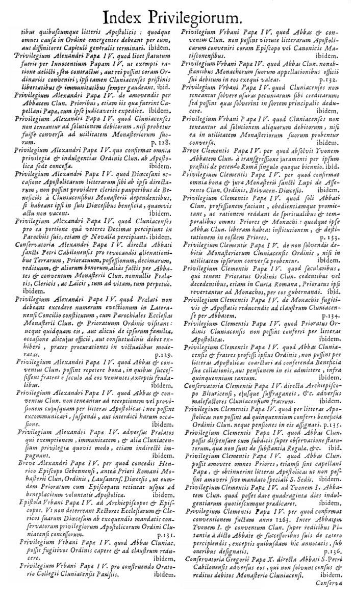 Bullarium Cluniacense p. A12   ⇒ Index privilegiorum