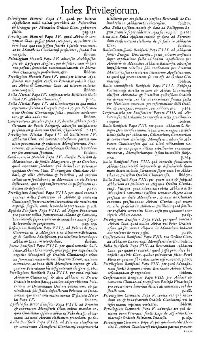 Bullarium Cluniacense p. A14   ⇒ Index privilegiorum