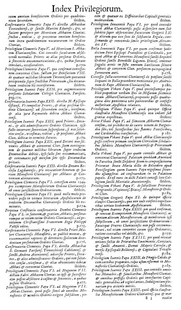 Bullarium Cluniacense p. A15   ⇒ Index privilegiorum