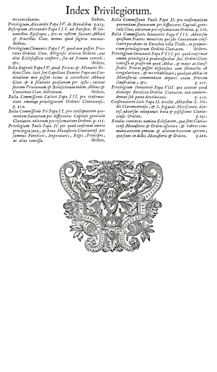 Bullarium Cluniacense p. A17   ⇒ Index privilegiorum