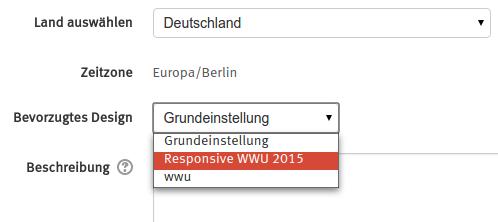Screenshot der Design-Auswahl