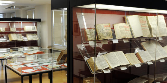 Display cases filled with historical Bibles