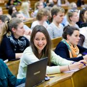 Students sitting in a lecture hall