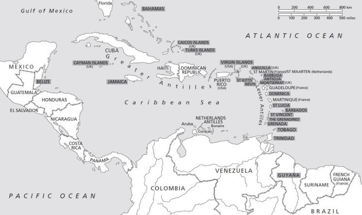 Map Of The Anglophone Caribbean