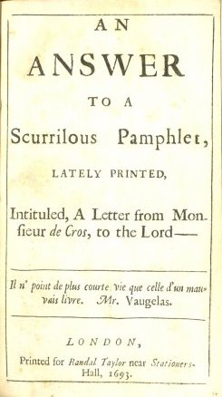 An Answer to a Scurrilous Pamphlet