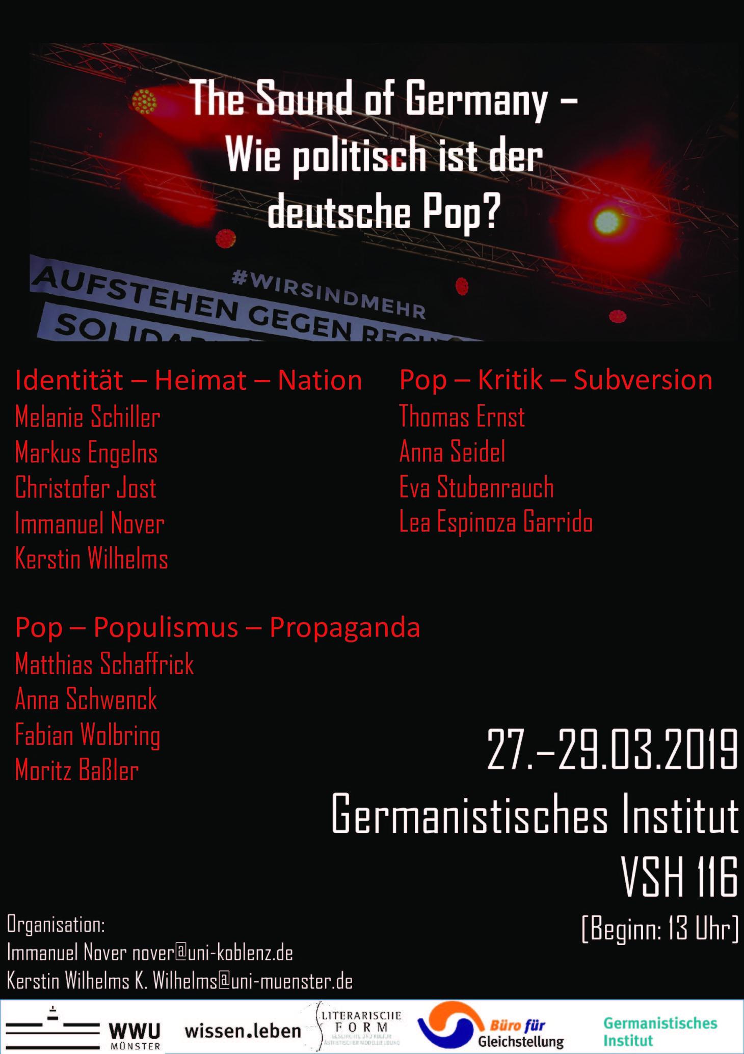 """Plakat zur Tagung """"The Sound of Germany – wie politisch ist der deutsche Pop?"""" an der WWU Münster"""