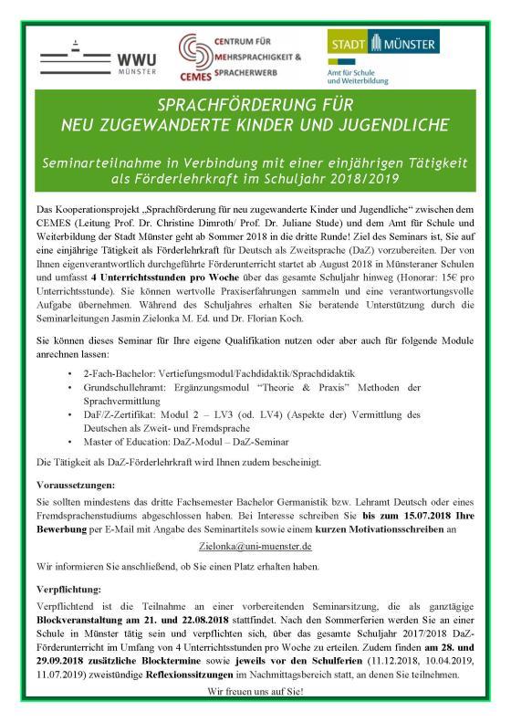 cemes kooperationsprojekt 20182019 - Uni Mnster Master Bewerbung