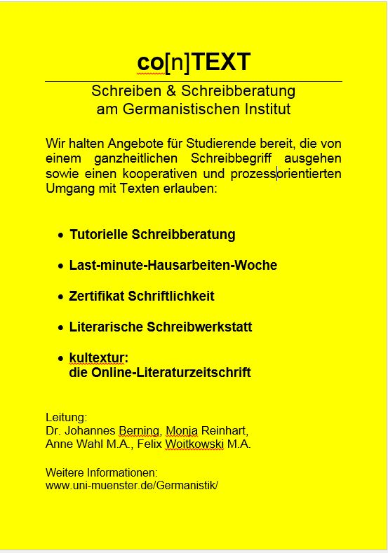 Uni wuppertal germanistik essay writing