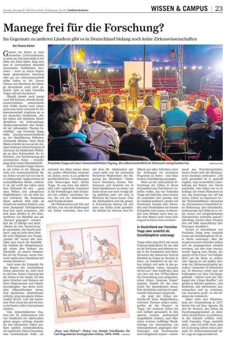Zur Zirkuswissenschaft in der Frankfurter Rundschau