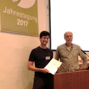 Werner Härdtle congratulating Martin Freitag, receiving the award for young authors by the Floristisch-soziologische Arbeitsgemeinschaft 2017. Görlitz, June 2017