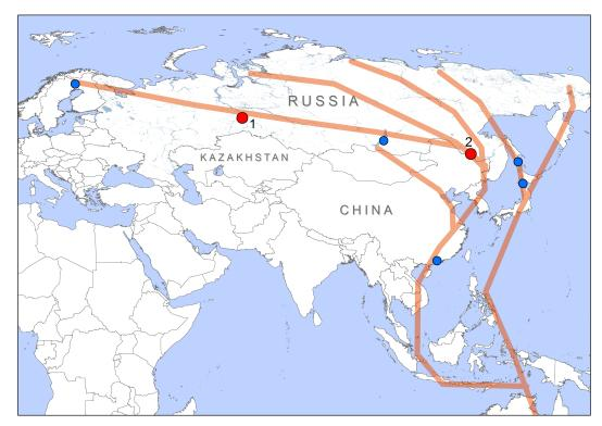 Schematic representation of the East Asian Flyway. Red dots mark our main fieldwork bases (Tyumen, Western Siberia (1) and Amur, Far East Russia (2)). Important collaborating stations are marked with blue dots. [Click to enlarge]
