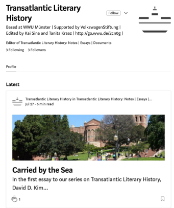 "Screenshot des Blogs ""Transatlantic Literary History"" (https://medium.com/transatlanticism-wwu)"
