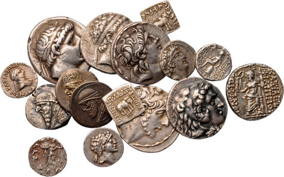 Coins from different hellenistic dynasties, Archaeological Museum of the WWU Münster