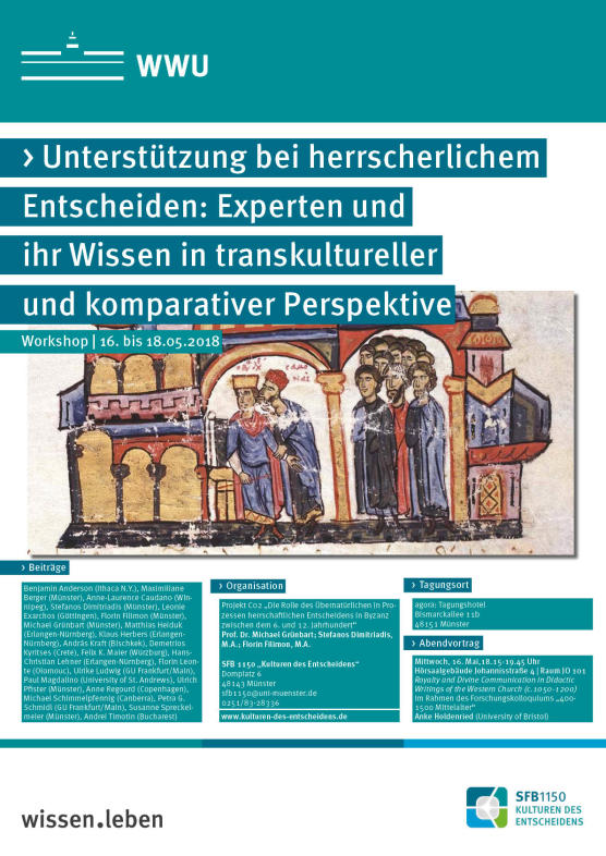 "Poster of the conference Conference ""Supporting sovereign decision-making. Experts and their knowledge in a transcultural and comparative perspective"""
