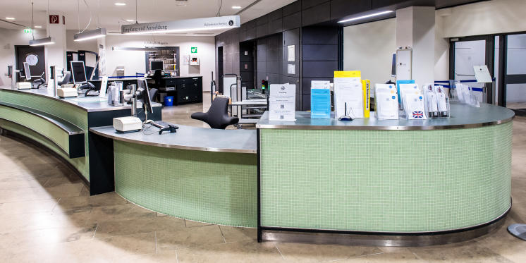 Circulation desk in the foyer